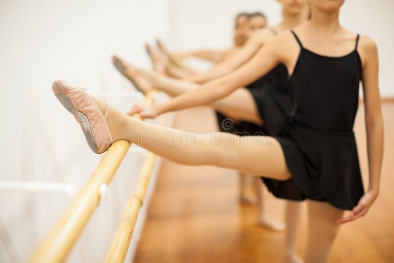 Grupo de muchachas en clase del ballet fotografía de archivo