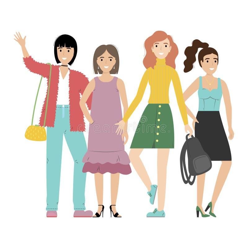 Grupo de muchachas o de estudiantes sonrientes que se unen Amigos felices aislados en el fondo blanco libre illustration