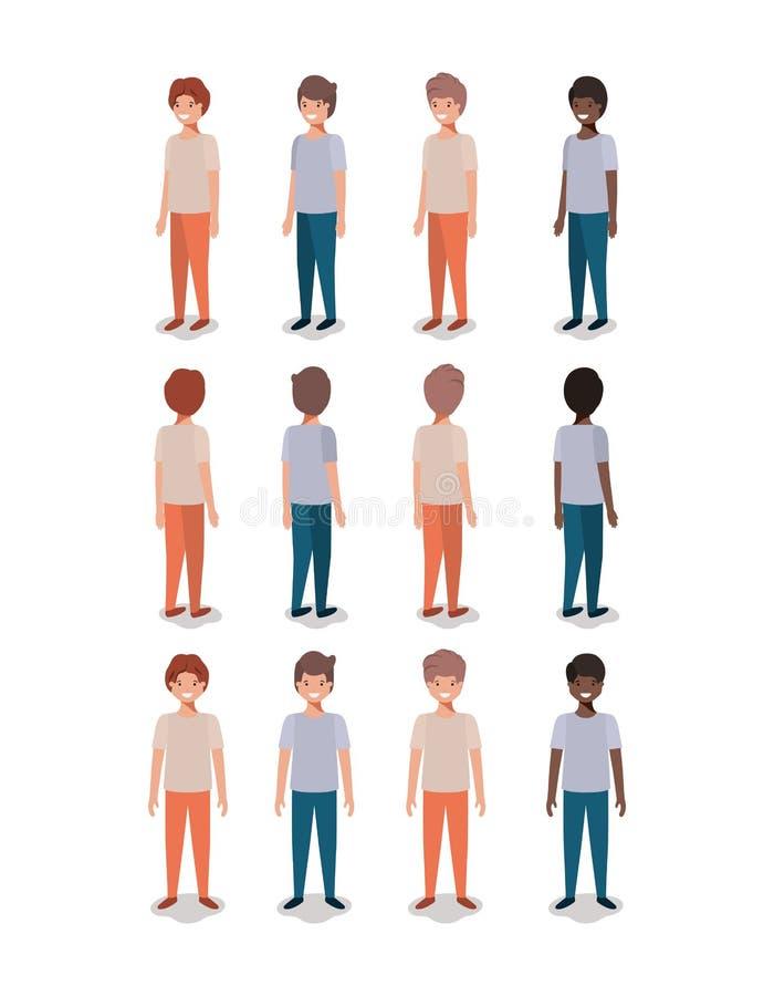 Grupo de muchachos jovenes stock de ilustración