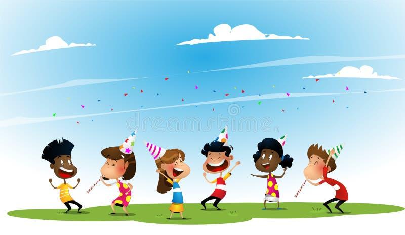 Grupo de muchachos y de muchachas felices afroamericanos y asiáticos stock de ilustración