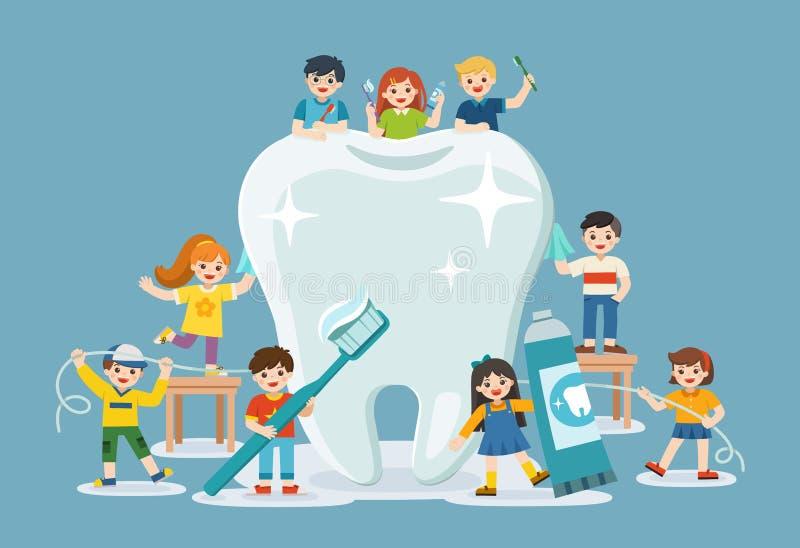 Grupo de muchachos y de muchachas sonrientes que se colocan al lado del diente blanco grande ilustración del vector