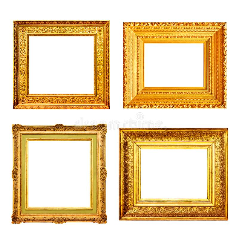 Grupo de muitos quadros do ouro da antiguidade isolados no branco imagens de stock royalty free