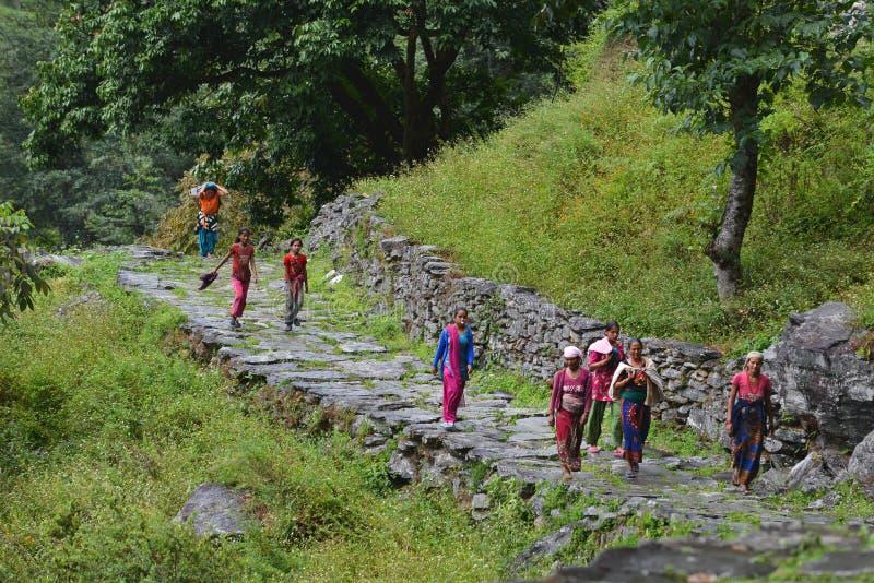 Grupo de mujeres de Gurung en ropa tradicional. Himalaya, Nepal fotos de archivo libres de regalías