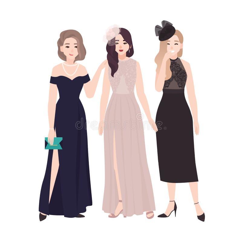 Grupo de mujeres jovenes en los vestidos de noche elegantes que se unen y que hablan o que cotillean en la bola del partido o del libre illustration