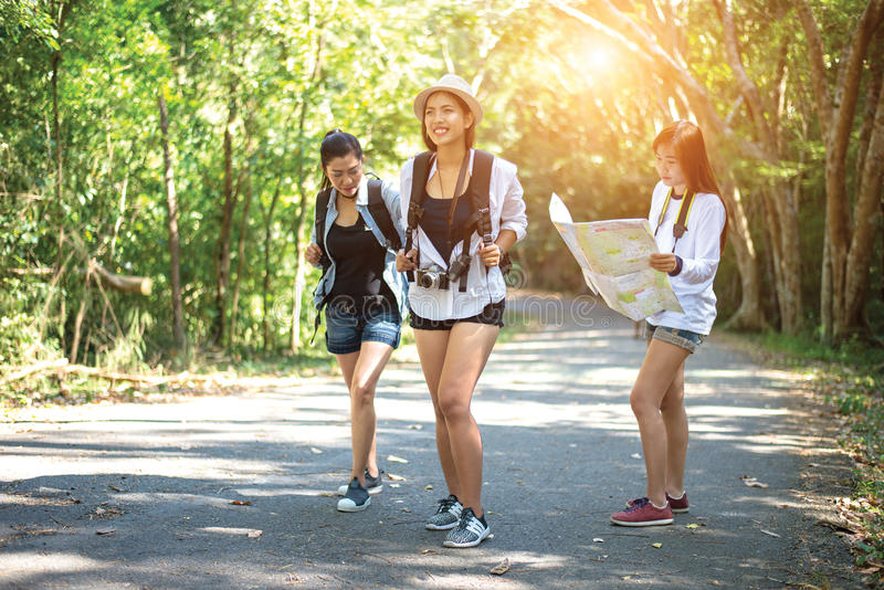 Grupo de mujeres jovenes hermosas que caminan en el bosque, disfrutando de vacaciones, fotografía de archivo