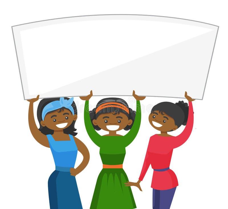 Grupo de mujeres jovenes que llevan a cabo al tablero en blanco blanco stock de ilustración