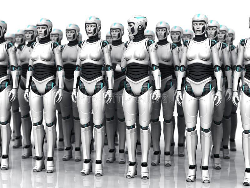 Grupo de mulher de sono do android. ilustração stock