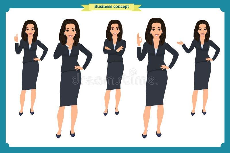 Grupo de mulher de negócios nova que apresenta em poses diferentes Caráter dos povos estar Isolado no branco Estilo liso Negócios ilustração royalty free