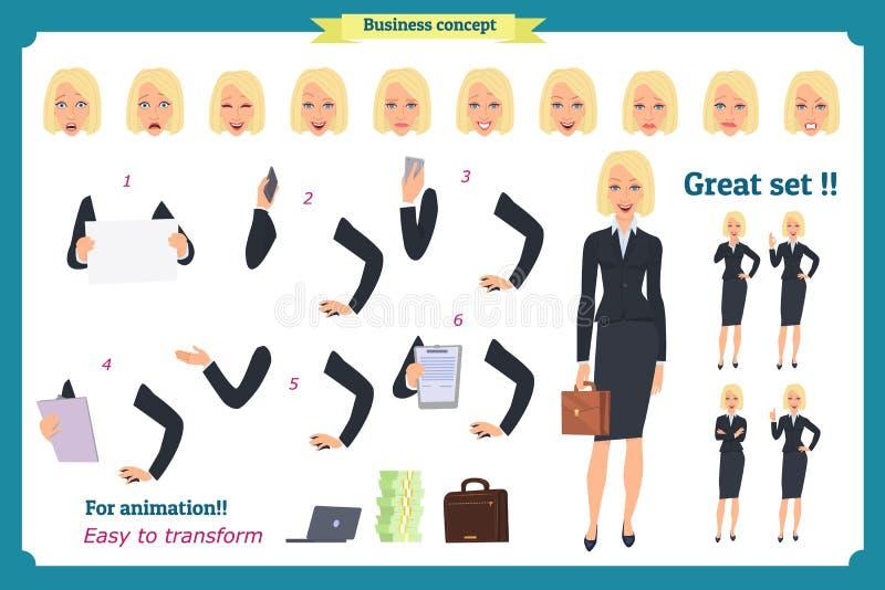Grupo de mulher de negócios nova que apresenta em poses diferentes Caráter dos povos estar Isolado no branco Estilo liso Negócios ilustração do vetor