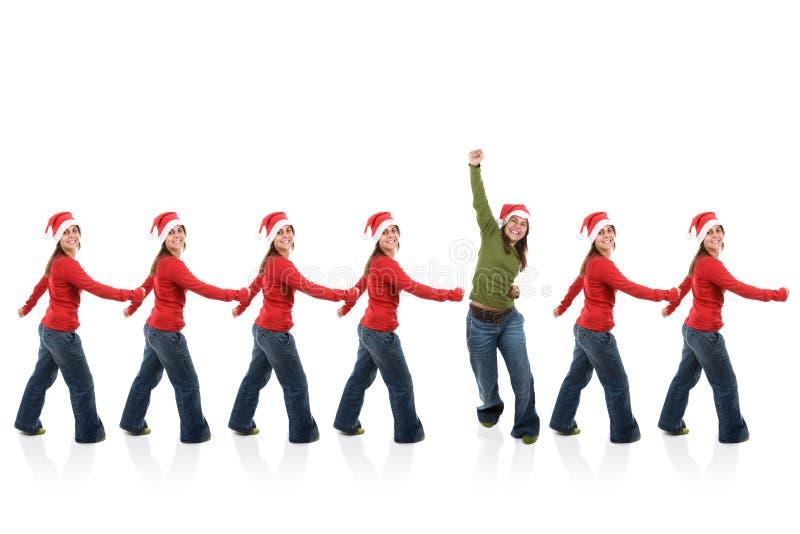 Grupo de mulheres de Santa na linha fotos de stock royalty free
