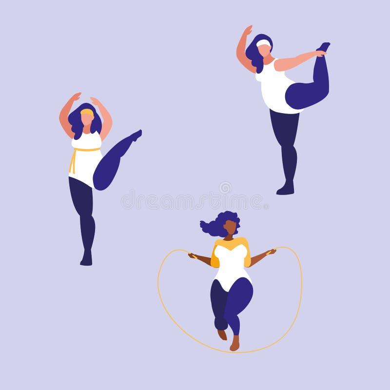 Grupo de mulheres grandes que exercitam o poder positivo do corpo ilustração stock