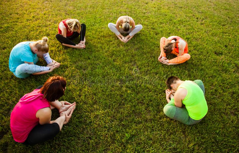 Grupo de mulheres que atendem à ioga fora no parque fotos de stock royalty free