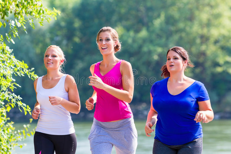 Grupo de mulheres que correm em movimentar-se da beira do lago fotografia de stock