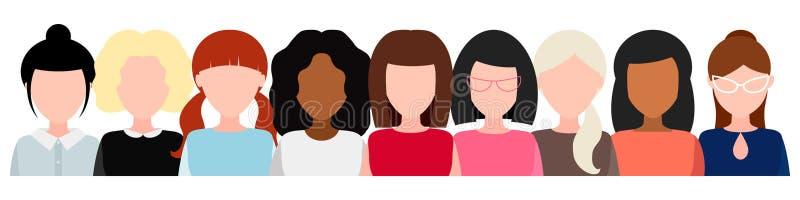 Grupo de mulheres sem cara, movimento social, concessão das mulheres conceito do feminismo, meninas do poder Vetor ilustração stock