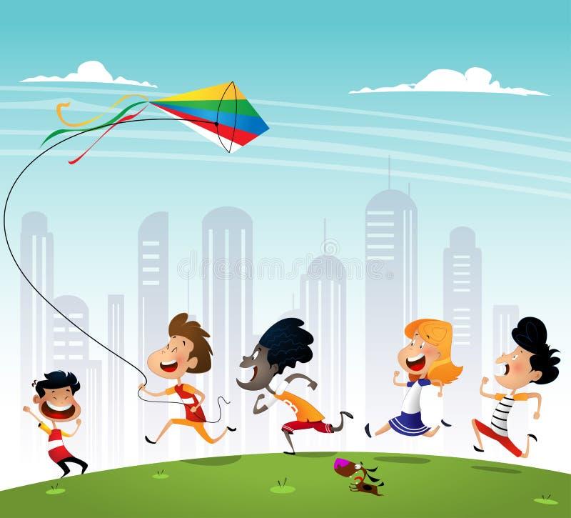 Grupo de multiracialkids que corren en el parque con la cometa ilustración del vector