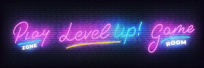 Grupo de néon do Gamer Zona do jogo, sala de jogo, nível acima do sinal de néon de incandescência ilustração stock