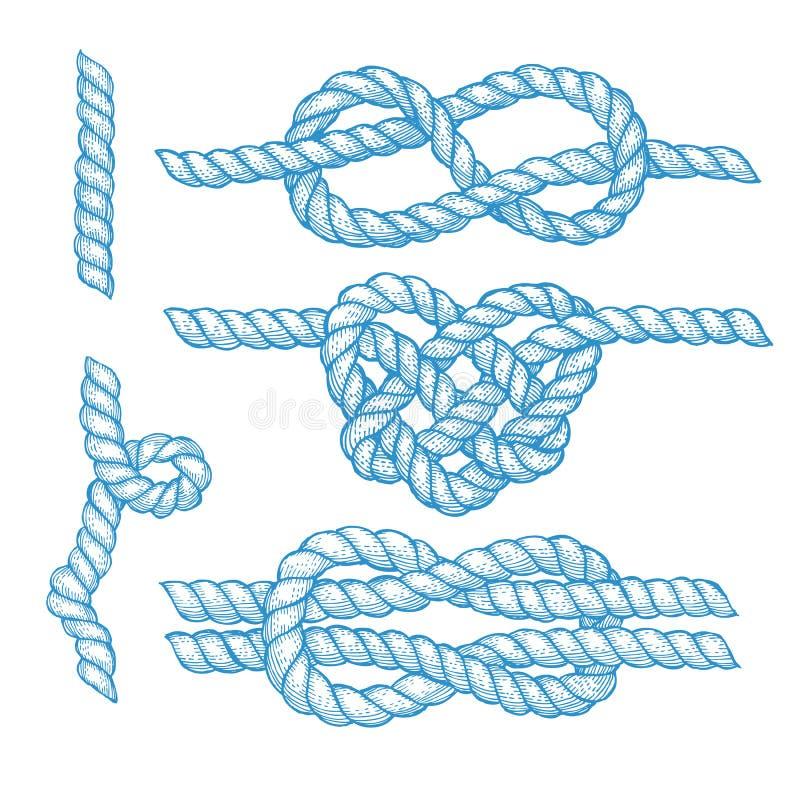 Grupo de nós e de cordas gravados ilustração stock