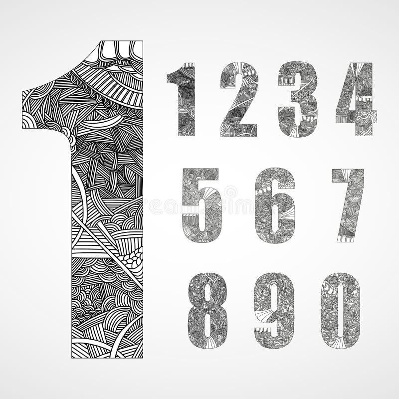 Grupo de número com teste padrão abstrato tirado mão da garatuja ilustração royalty free