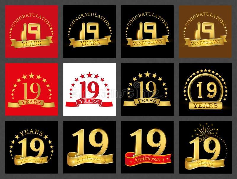 Grupo de número dezenove 19 anos de projeto da celebração Elementos dourados do molde do número do aniversário para sua festa de  ilustração royalty free