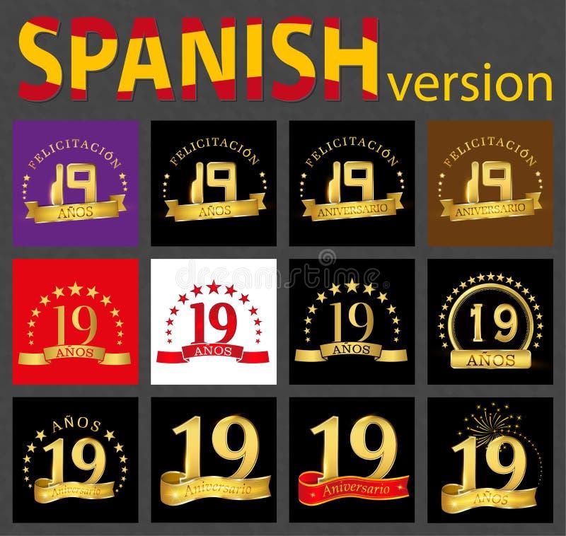 Grupo de número espanhol dezenove 19 anos ilustração do vetor