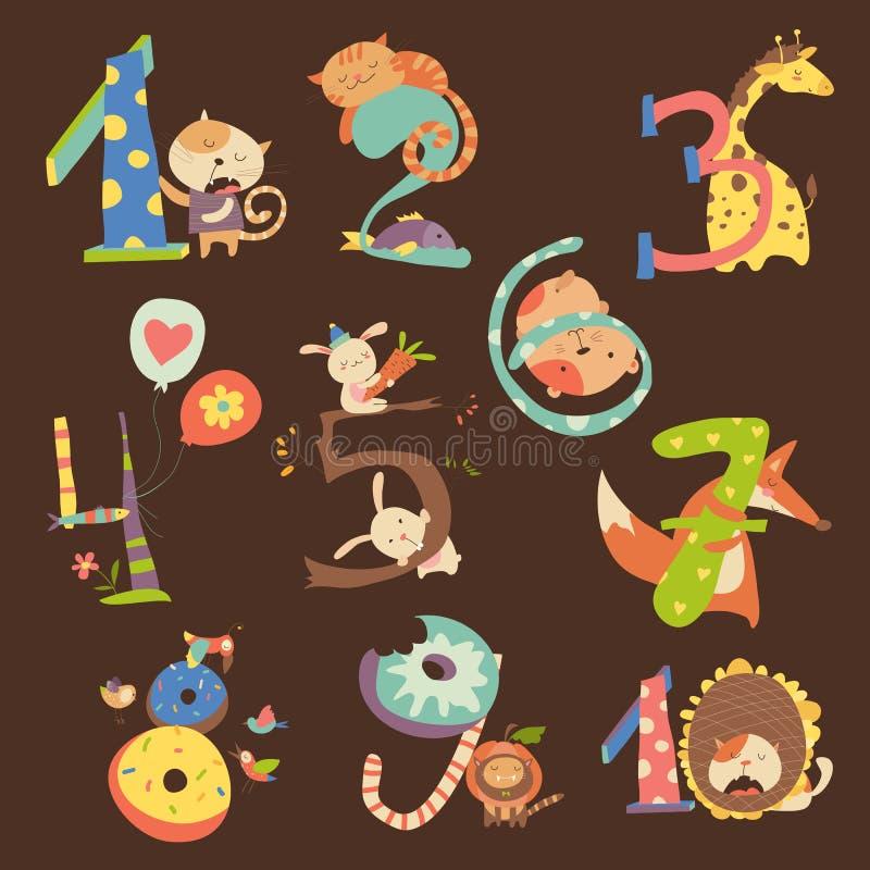 Grupo de números do aniversário do aniversário com animais engraçados ilustração royalty free