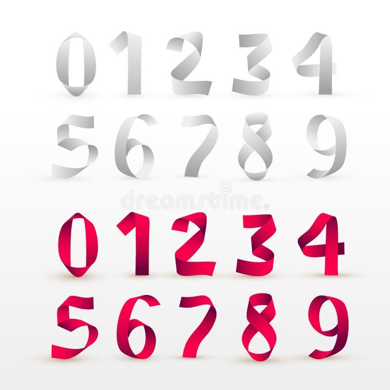 Grupo de números de dobramento do papel Fonte branca e vermelha do roteiro da fita Fonte de papel estilizado moderna O alfabeto r ilustração stock