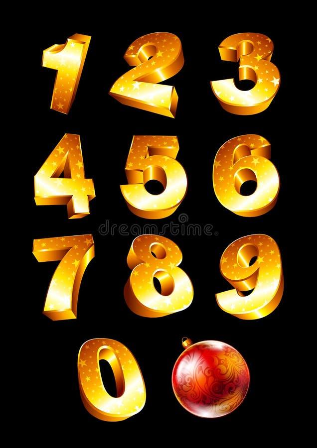 Grupo de números dourados ilustração do vetor