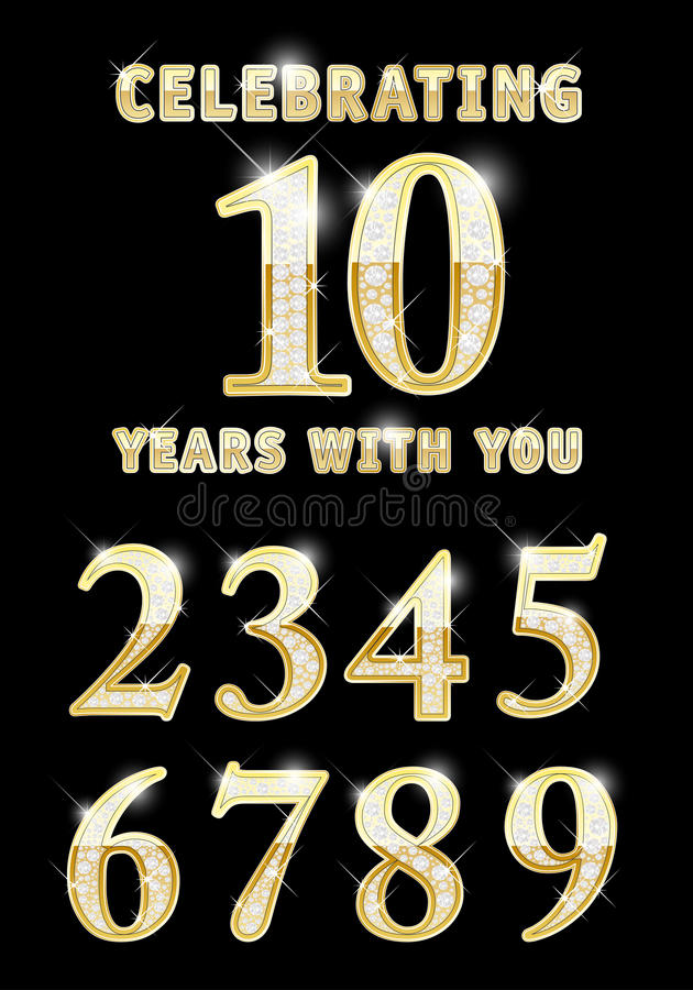 Grupo de números dourados brilhantes ilustração do vetor