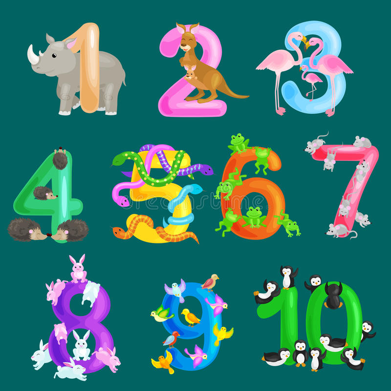 Grupo de números ordinais para as crianças de ensino que contam com a capacidade para calcular o alfabeto do ABC dos animais de u ilustração do vetor