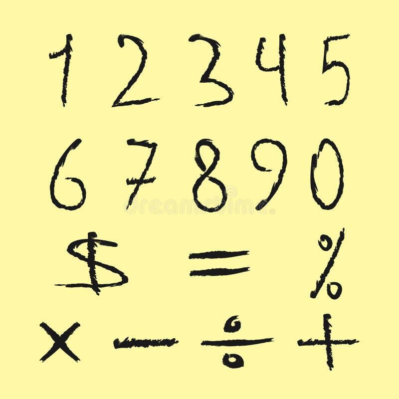 Grupo de números pretos, sinais matemáticos Figuras desalinhado tirado ilustração do vetor