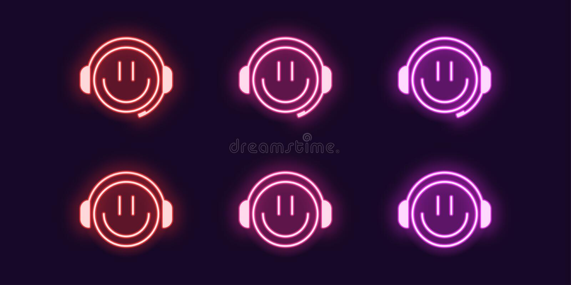 Grupo de n?on do ?cone de Gamer do emoji com fones de ouvido ilustração do vetor
