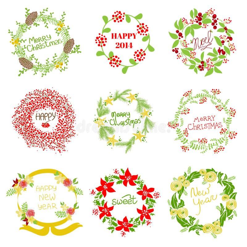 Grupo de Natal do vintage e de grinalda do ano novo ilustração royalty free