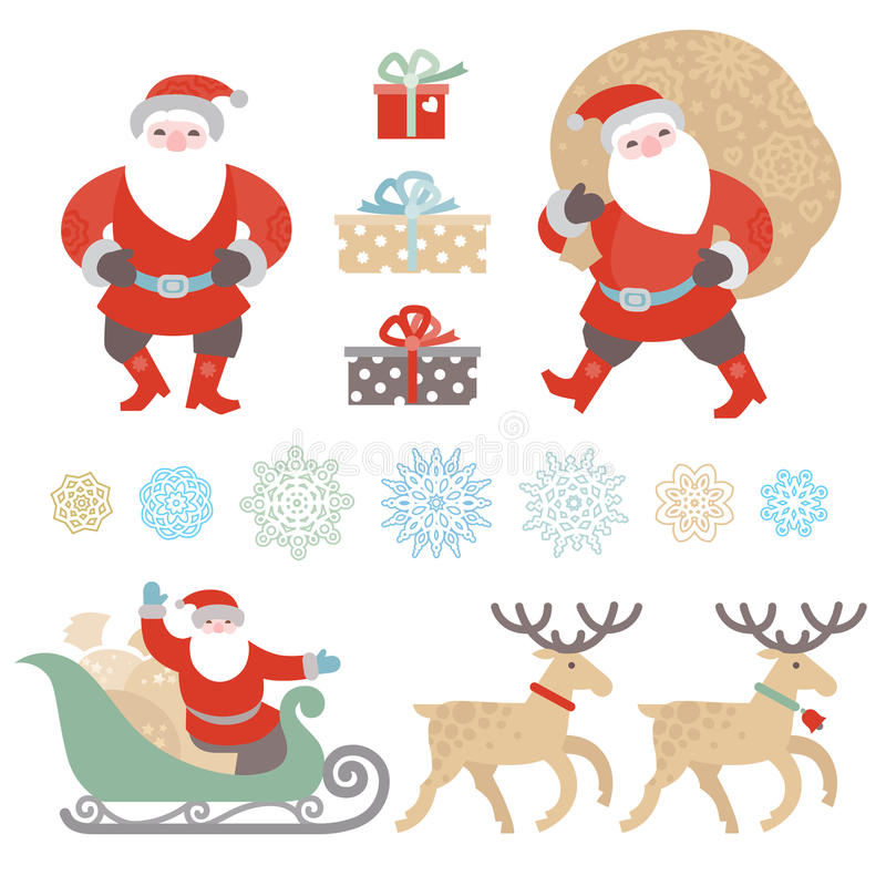 Grupo de Natal, elementos do vetor de ano novo ilustração do vetor