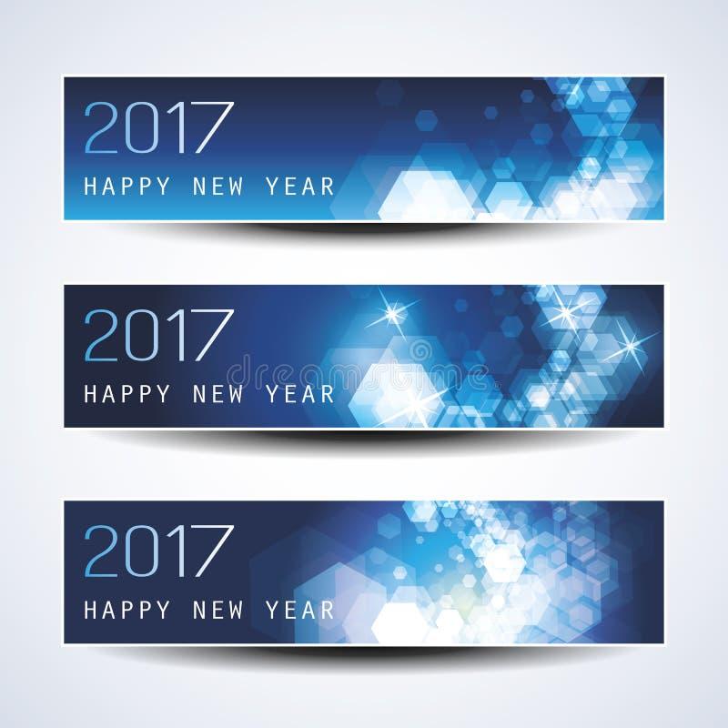 Grupo de Natal horizontal efervescente azul, bandeiras do ano novo - 2017 ilustração stock