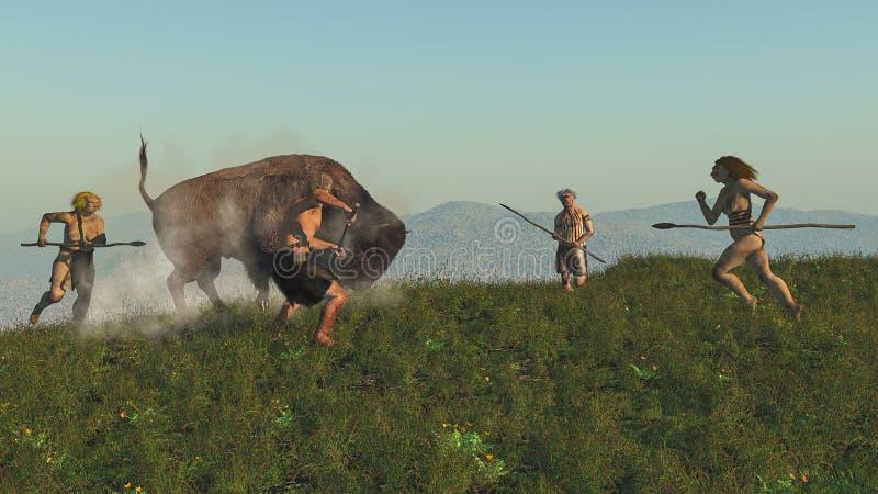Grupo de neanderthal que caza un bisonte stock de ilustración