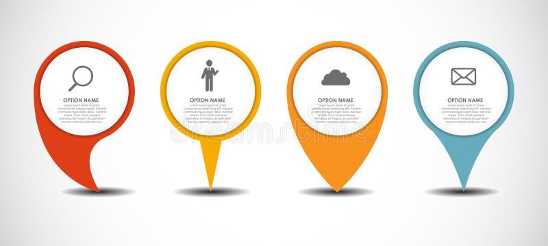 Grupo de negócio de Infographic dos ponteiros do círculo ilustração stock