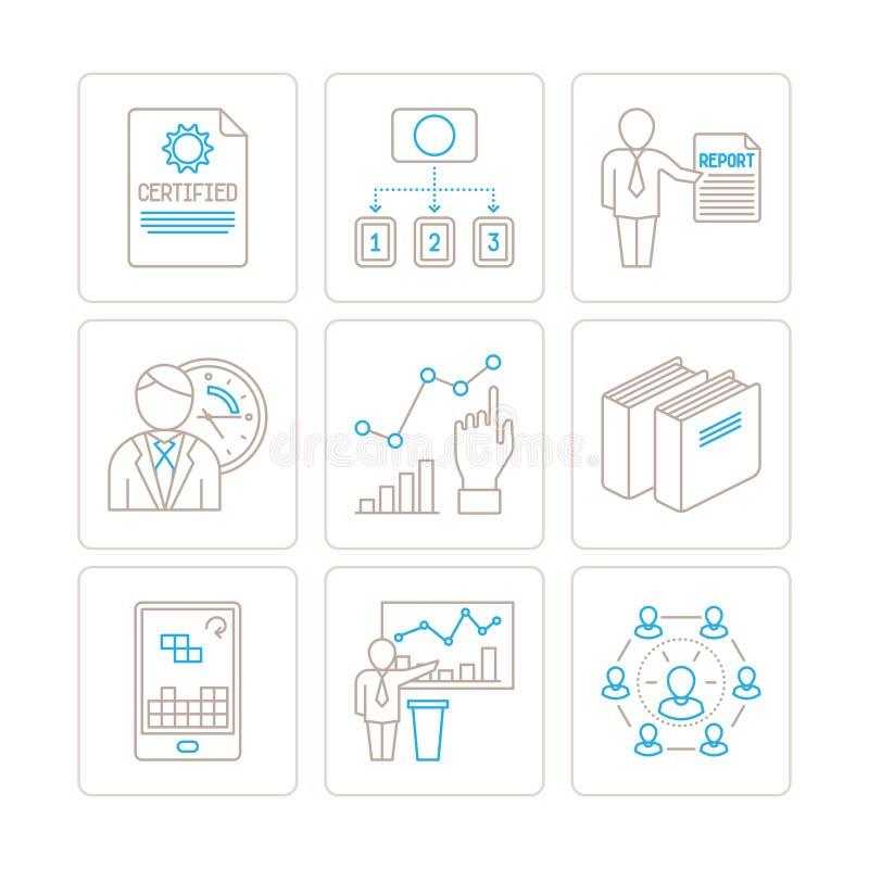 Grupo de negócio do vetor ou ícones e conceitos da finança na mono linha estilo fina ilustração royalty free