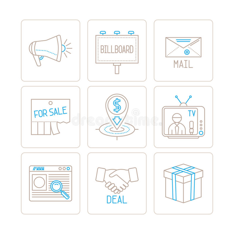 Grupo de negócio do vetor ou ícones e conceitos do mercado na mono linha estilo fina ilustração stock