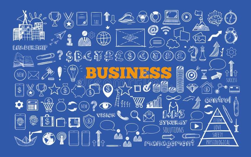 Grupo de negócio e de ícones da finança ilustração royalty free