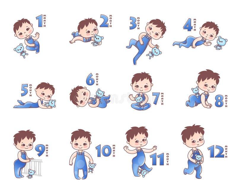 Grupo de niños bebés Etapas de crecimiento de 1 mes a 1 año Pequeño bebé con arco y juguete rosados Etapas del desarrollo del niñ stock de ilustración