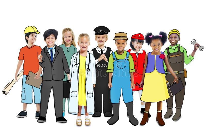 Grupo de niños con diverso concepto de los empleos stock de ilustración