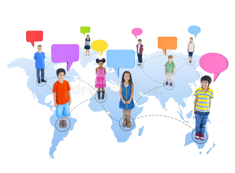 Grupo de niños del mundo conectados juntos imagen de archivo libre de regalías