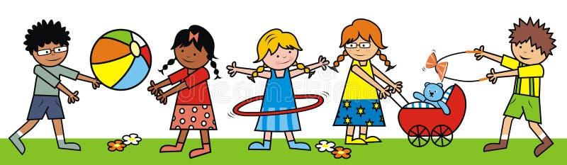 Grupo de niños en parque del amjsement, EPS ilustración del vector