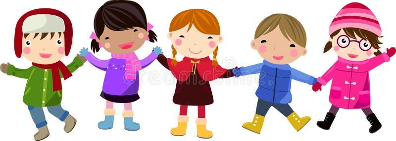 Grupo de niños felices stock de ilustración
