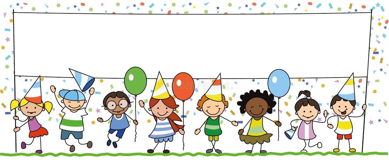 Grupo de niños felices en la fiesta de cumpleaños que sostiene la bandera blanca con el espacio de la copia - ilustración del vector