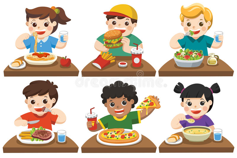 Grupo de niños felices que comen la comida deliciosa stock de ilustración