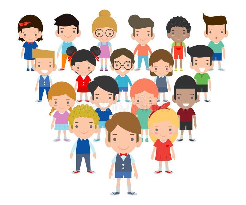 Grupo de niños muchacho y de muchacha, colección feliz de la historieta de los niños, gente en el fondo blanco stock de ilustración