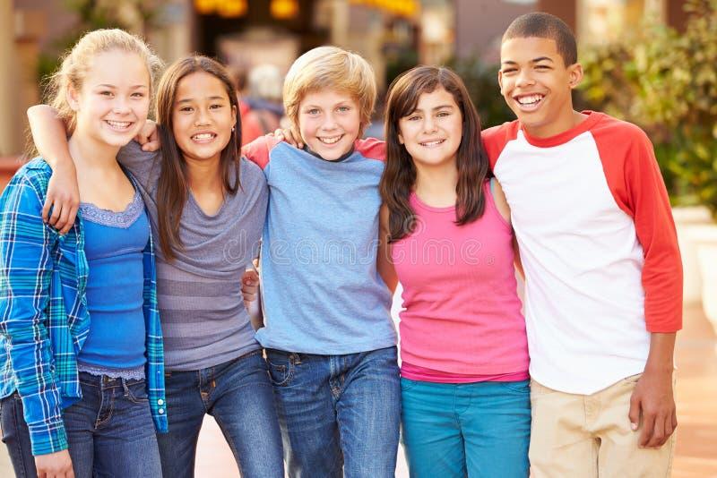 Grupo de niños que cuelgan hacia fuera junto en alameda foto de archivo libre de regalías