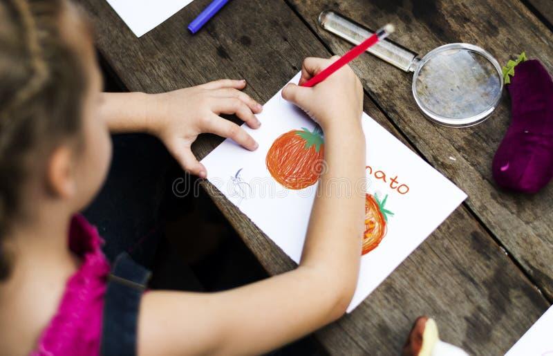 Grupo de niños que dibujan la imaginación al aire libre fotos de archivo libres de regalías