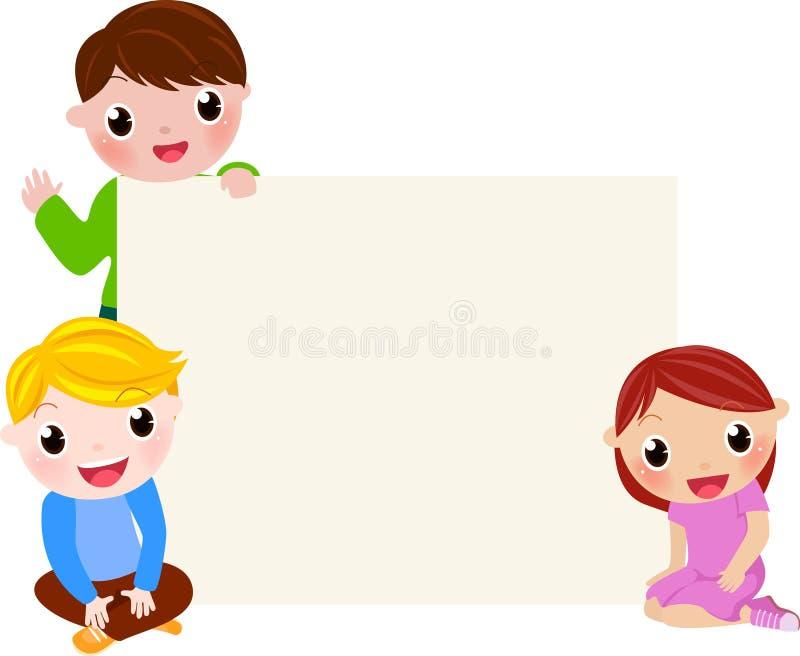 Grupo de niños que tienen la diversión y bandera libre illustration